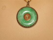 ELEGANT OLD CHINESE 18KT GOLD PENDANT WITH JADE DONUT DISC CENTRE & BI DISC HO